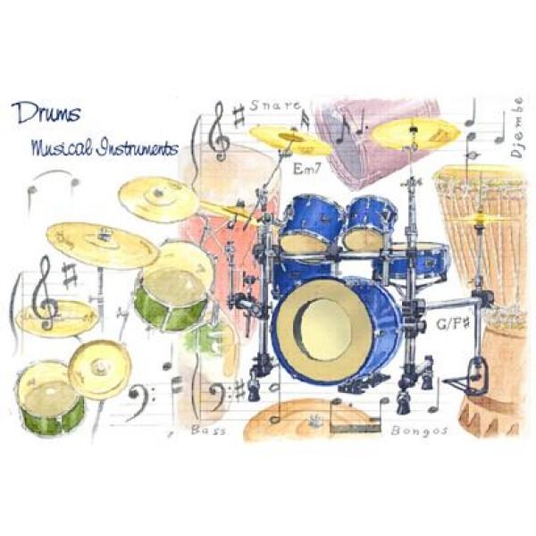 7x5 Greetings Card - Drums Design