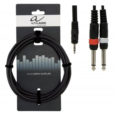 Alpha Audio Basic Line 'Y' Stereo Mini Jack - 2 x Mono Jack 3m