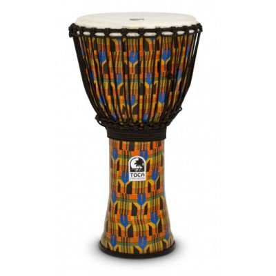 Toca SFDJ-12K Kente Cloth Djembe Freestyle Rope Tuned