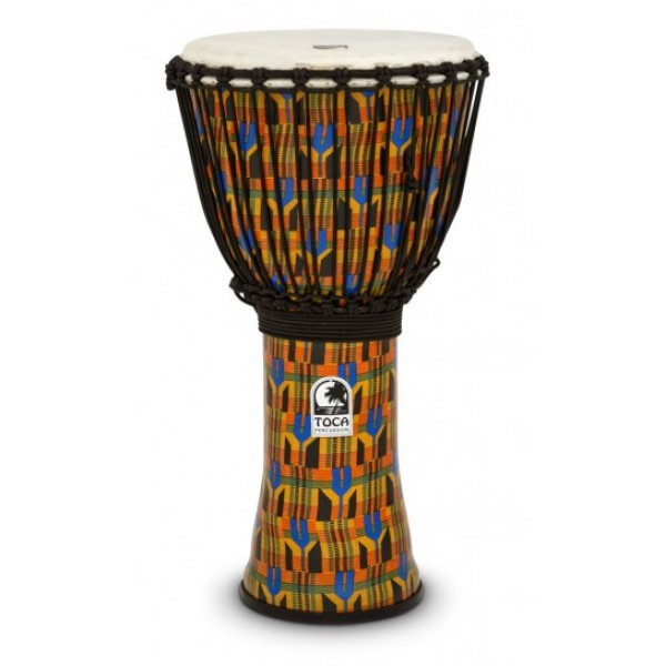 SFDJ-12K Kente Cloth Djembe Freestyle Rope Tuned TOCA
