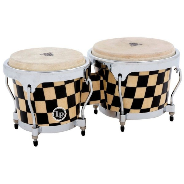 LPA601-CHKC LP Aspire Accent Wood Bongos, Checkerboard/Chrome