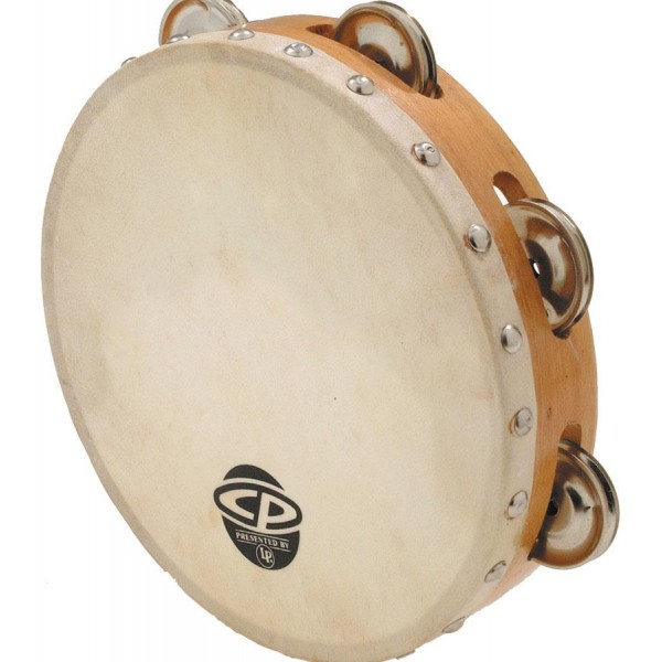 "CP378  LP Cp 8"" Wood Headed Tambourine With Single Row Jingles"