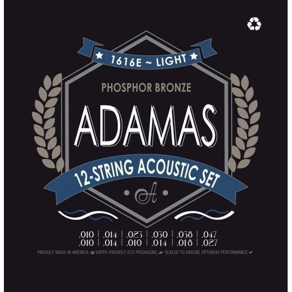 Adamas 1616E 12-String  Acoustic Guitar Strings 10-47
