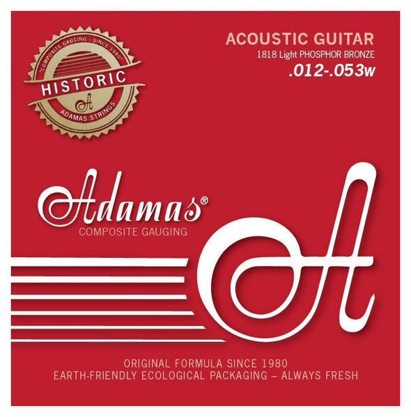 Adamas 1818E Phosphor Bronze Acoustic Guitar Strings 12-53