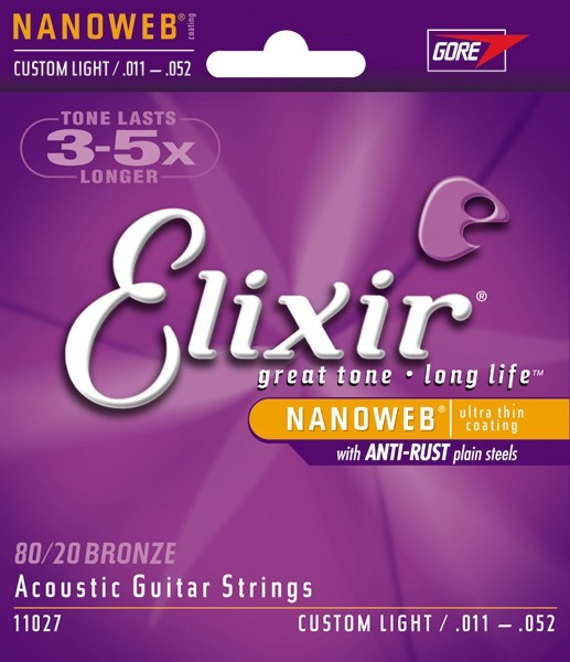 Elixir Nanoweb Custom Light 80/20 Bronze 11-52 11027