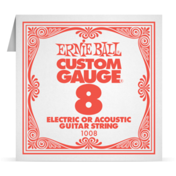 Ernie Ball 008 Plain Steel Electric and Acoustic Guitar 1008