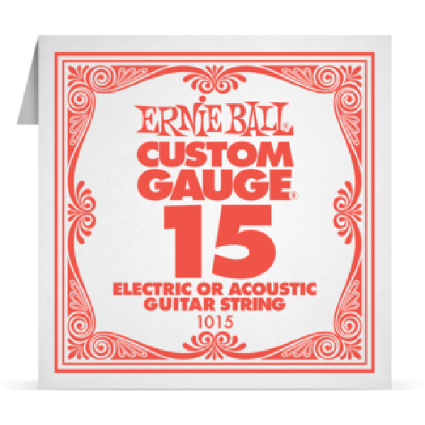 Ernie Ball 015 Plain Steel Electric and Acoustic Guitar 1015