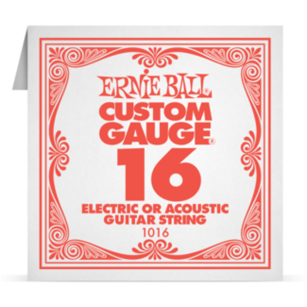 Ernie Ball 016 Plain Steel Electric and Acoustic Guitar 1016