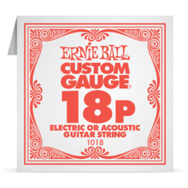 Ernie Ball 018P Plain Steel Electric and Acoustic Guitar 1018