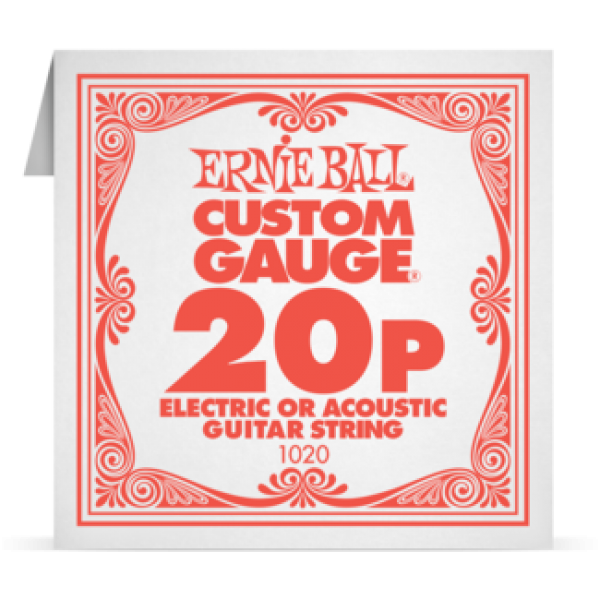 Ernie Ball 020P Plain Steel Electric and Acoustic Guitar 1020