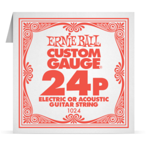 Ernie Ball 024P Plain Steel Electric and Acoustic Guitar 1024
